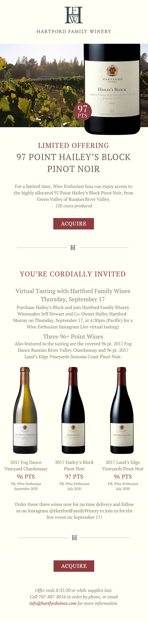 Hartford Winery Virtual Tasting